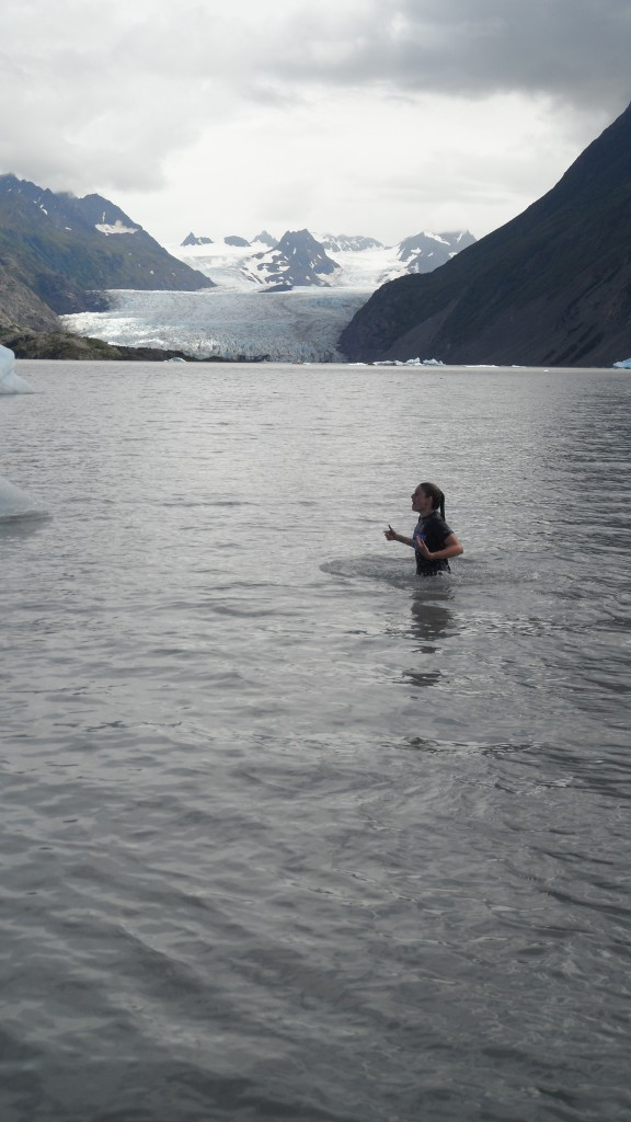 Some of us dunked in the glacial melt water! It was so cold that I couldn't talk when I came up - but we had a fire going so it was okay!
