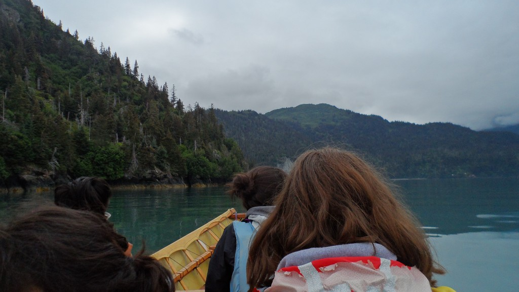 paddling the umiak out to the glacial lake trail head