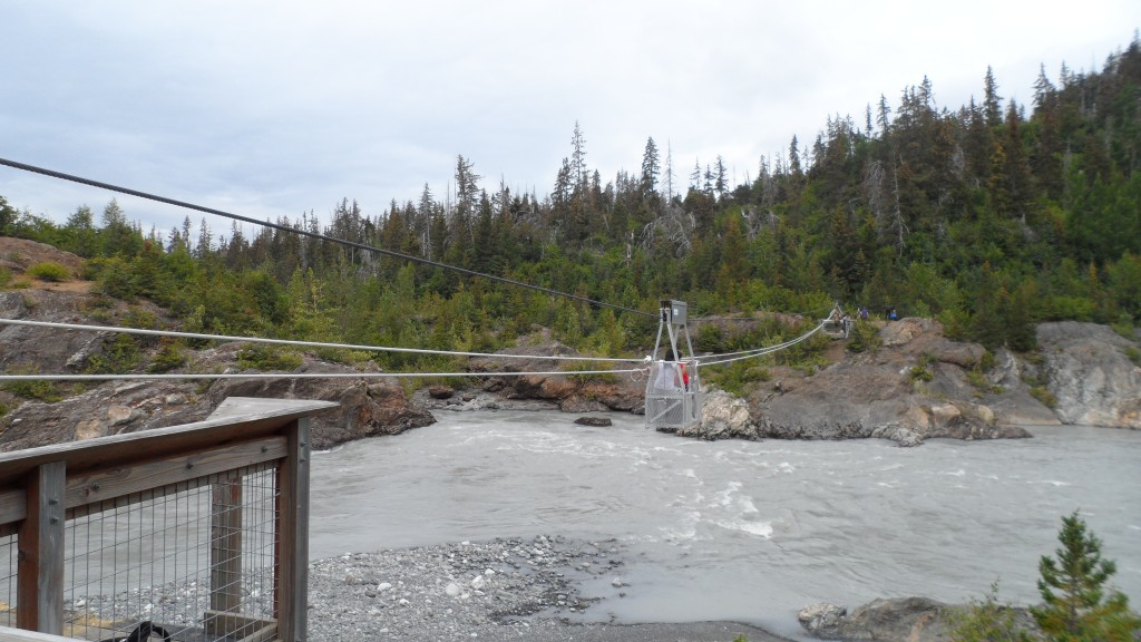 The tram to cross the river (from Glacial Lake overflow) - the metal box fit two and had to be pulled back and forth manually