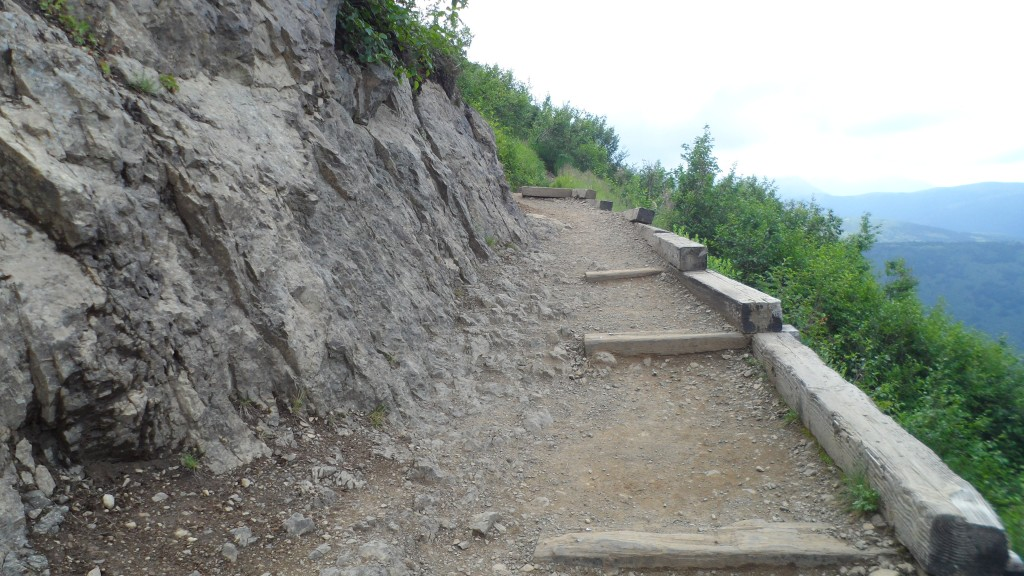 The middle portion of the hike had a few railroad tie steps - thank goodness! It was steep and the ground was made up of loose rock, super slippery